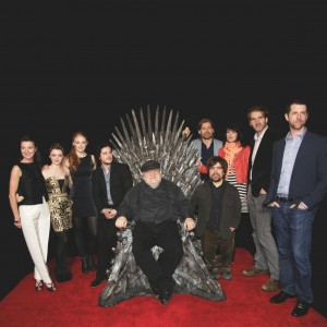19 Mar 2013, Los Angeles, California, USA --- LOS ANGELES, CA - MARCH 19: Michelle Fairley, Maisie Williams, Sophie Turner, Kit Haringston, George R.R. Martin, Peter Dinklage, Nikolaj Coster-Waldau, Lena Heady, David Benioff and D. B. Weiss at the Television Academy Presents an Evening with Game of Thrones at TCL Chinese Theatre. Mandatory Photo Credit: © RD / Dowling  --- Image by © Retna Digital/Retna Ltd./Corbis