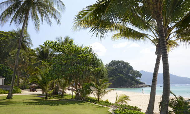 The beach at The Surin Hotel, Phuket, Thailand, Southeast Asia, Asia