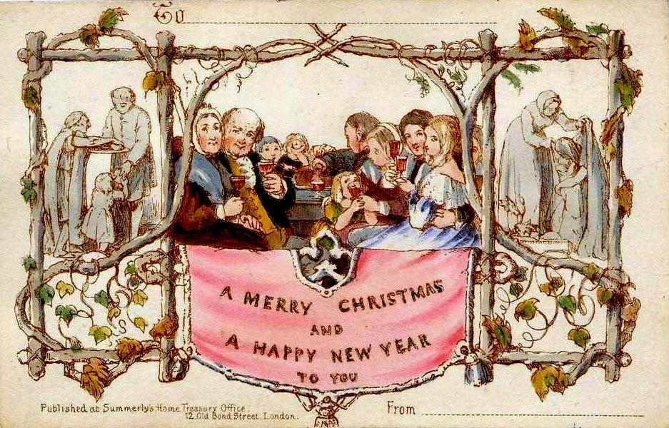 Pierwsza świąteczna karta whistorii autorstwa sir Henry'ego Cole'a. / Foto: Wikimedia