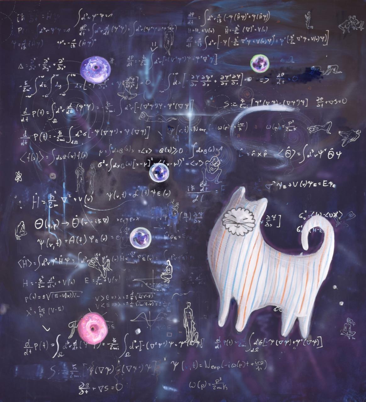 Kot Schrödingera (Schrödinger's Cat) 2015, 150x156 cm, olej iakryl napłótnie