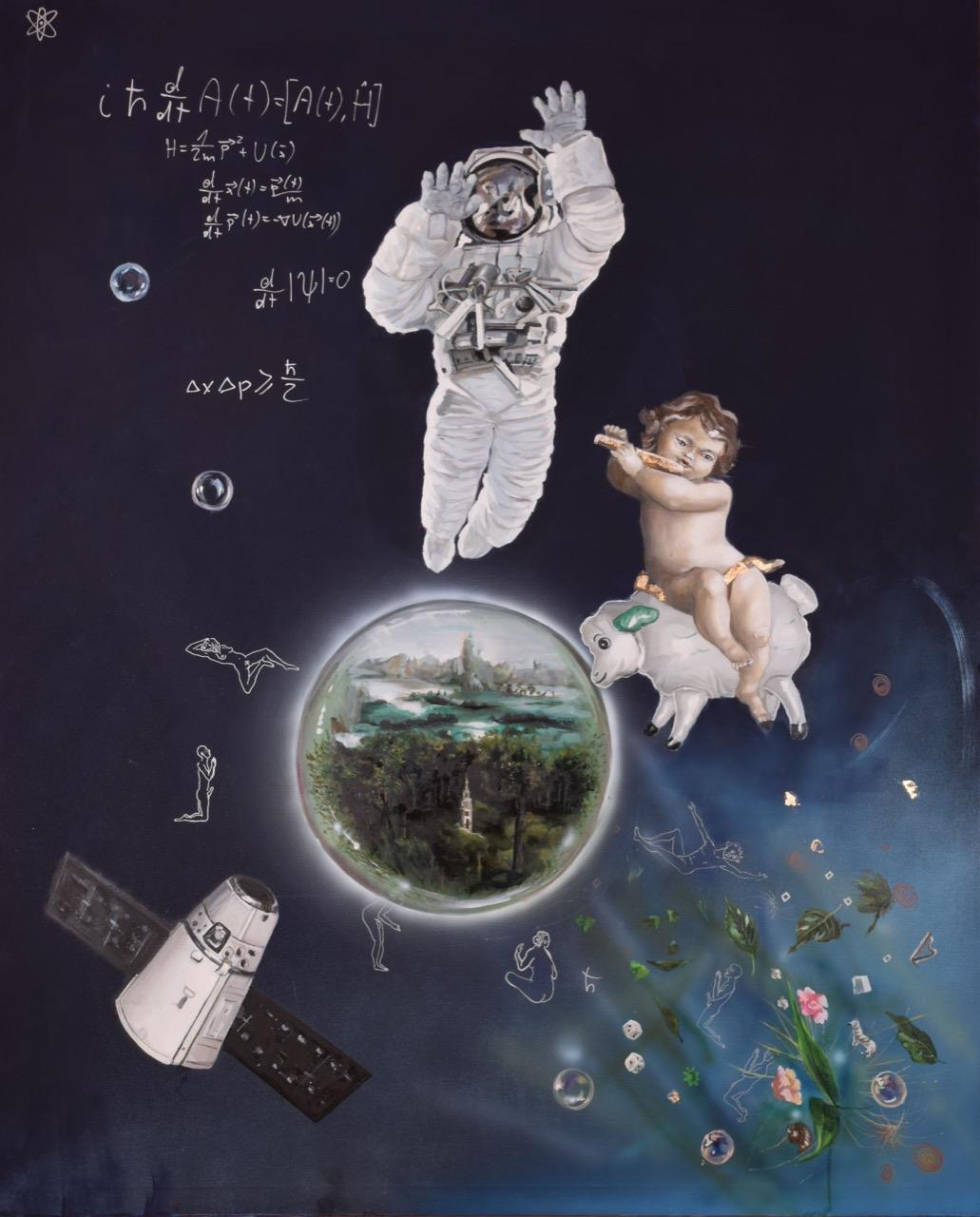 Boski język (Divine Language) 2015, 150x185 cm, olej iakryl napłótnie
