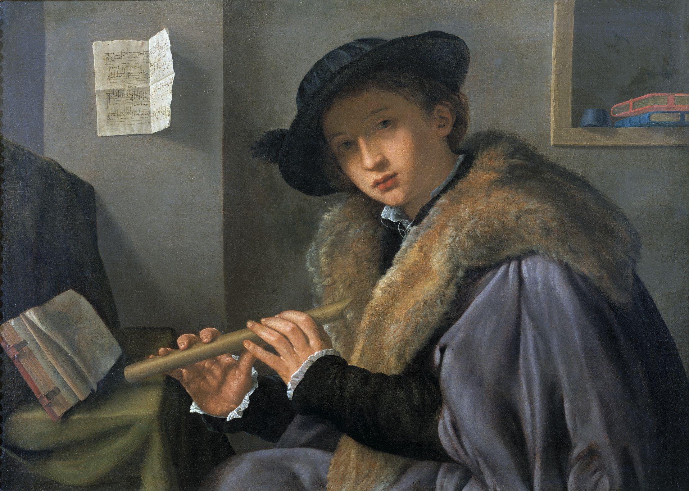 Giovanni Gerolamo Savoldo, Portret mężczyzny grającego naflecie, ok. 1525, 74,5 x 100,5 cm, olej napłótnie.