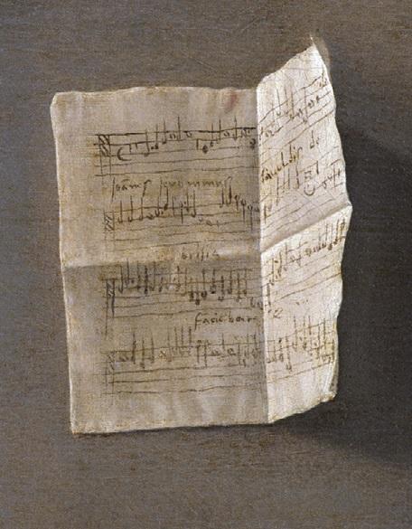 Giovanni Gerolamo Savoldo, Portret mężczyzny grającego naflecie, fragment ukazujący list przytwierdzony dościany.