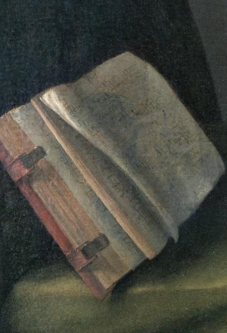 Giovanni Gerolamo Savoldo, Portret mężczyzny grającego naflecie, fragment ukazujący otwartą książkę nastole.