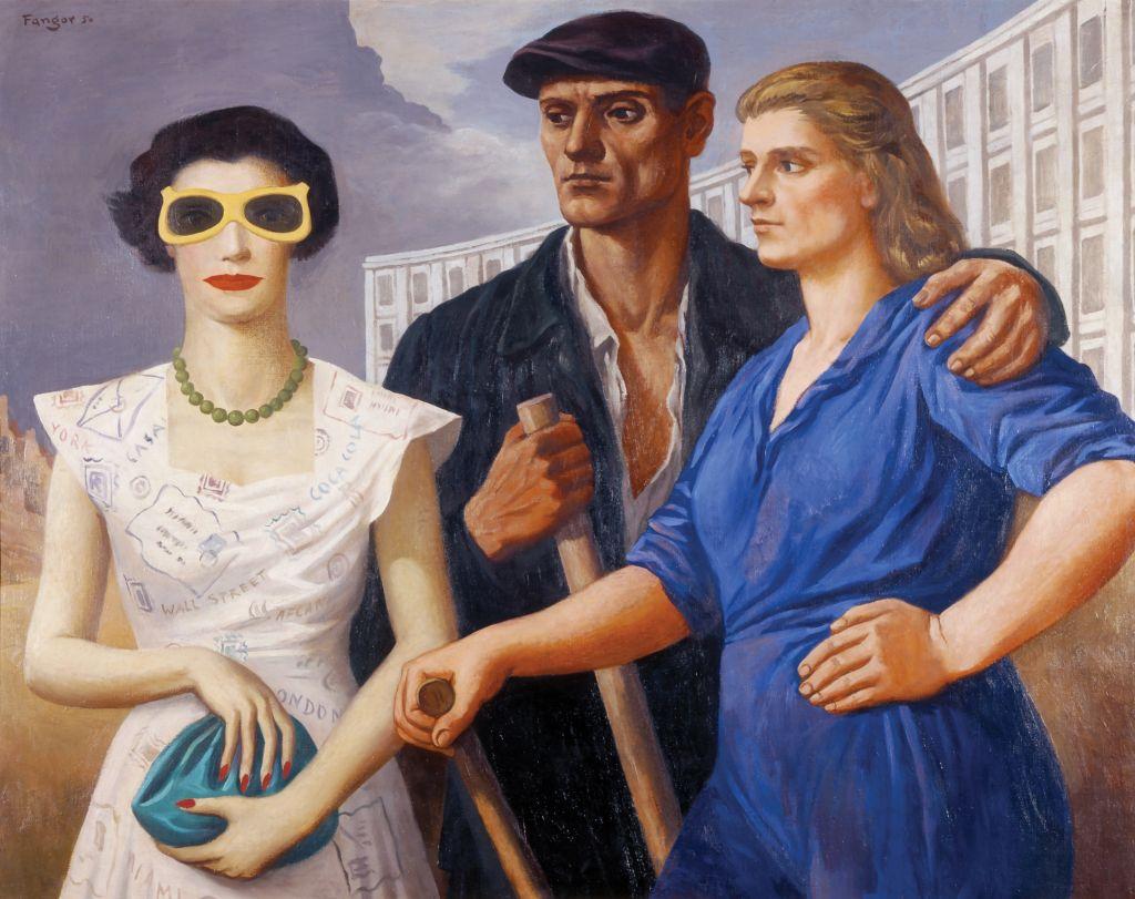 Wojciech Fangor, Postaci, 1950, olej napłótnie, 100 x 125 cm, wł. Muzeum Sztuki wŁodzi. Źródło: Wikimedia Commons.