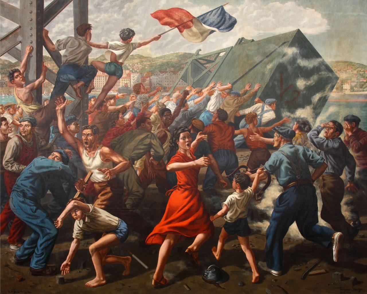 Gérard Singer, 14 lutego wNicei (Le 14 février à Nice), 1950-1951, olej napłótnie, 350 x 440 cm, własność: Muzeum Narodowe wSzczecinie. Źródło: Wikimedia Commons.
